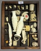 A quantity of carved bone and ivory items - WITHDRAWN