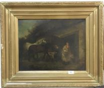A 19th century oil on board,