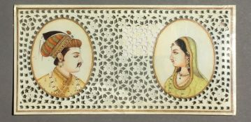 A 19th century Indian double portrait miniature on ivory