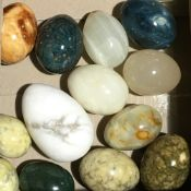 A small collection of specimen mineral eggs