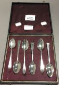 Six bright cut Georgian tea/coffee spoons by various London makers