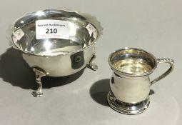 A silver bowl and a miniature tankard