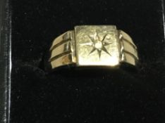 A gentlemen's 1930s 9 ct gold on silver ring