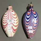 Two Victorian glass decorations