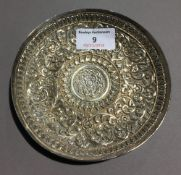 An unmarked Indian embossed silver dish (approx 3.
