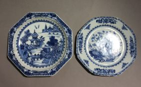 Two 18th century Chinese blue and white porcelain export plates