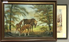 JANET BROOK, Mare With Foals, oil,