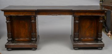 An early 19th century mahogany pedestal sideboard,