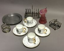 A quantity of silver plate, a set of four sporting cups,