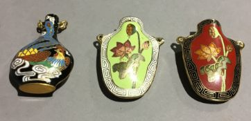 Three cloisonne snuff bottles