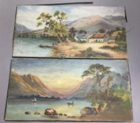 F A WEBB (19th century), Loch Scenes, oil on canvas,