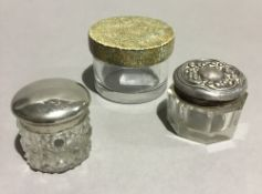 A shagreen topped glass jar and two others