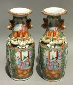 A pair of Canton vases