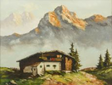OSWALD ARNDT (born 1917) Austrian (AR), Tuxer Alps, Austria, Oil on canvas, signed,