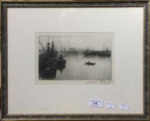 A 19th century port scene print, indistinctly signed,