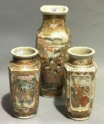 Three 19th century Satsuma vases