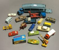 A quantity of model cars, including Dinky, Matchbox, etc.