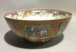 A 19th century Canton punch bowl