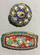 Two micro mosaic brooches
