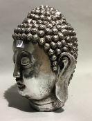 A silvered Buddhas head