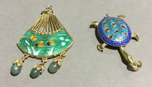 A Chinese silver and enamel fan and tortoise