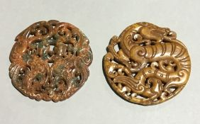 Two Chinese jade/agate discs