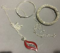 A quantity of silver jewellery, etc.