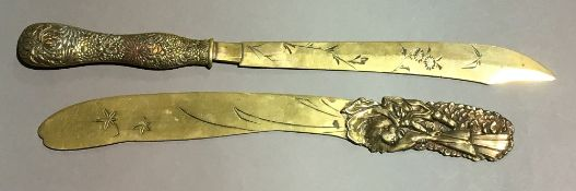 Two Japanese Meiji period brass paper knives