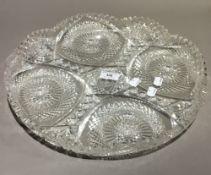 A large cut glass dish