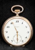 A Longines 800 silver open faced pocket watch The white enamelled dial with Arabic numerals and