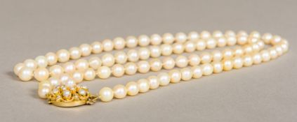 A fine opera length single string pearls necklace With pearl set 9 ct gold clasp. 82 cm long.