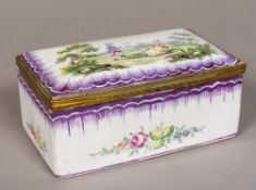 A 19th century French Sceaux pottery faience box The hinged cover decorated with a couple in a