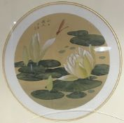 A pair of Chinese watercolours on silk Each or circular form,
