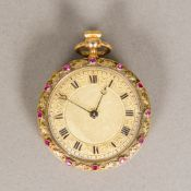 An unmarked 18 ct gold Vacheron & Constantin fob watch The engraved dial with Roman numerals