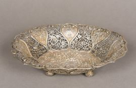 A Chinese silver basket, maker's mark of TG Of pierced oval form,