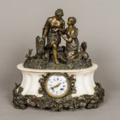 A bronze mounted white marble mantel clock Surmounted with two classical maidens amongst bocage,