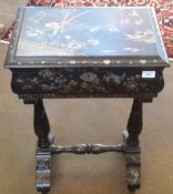 A Victorian mother-of-pearl inlaid chinoiserie lacquered work box The moulded hinged rectangular