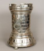 A Victorian silver plated Bovril urn Of castellated tower form. 44 cm high.
