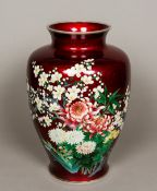 An early 20th century Japanese Ando cloisonne vase The stout ovoid body decorated with