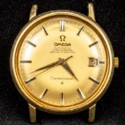 An 18 ct gold Omega constellation gentleman's wristwatch The champagne dial with batons and date