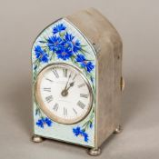 An Edwardian enamel decorated silver desk clock, hallmarked Birmingham 1906 Of domed form,