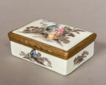 A late 18th/early 19th century enamel box The hinged domed rectangular top painted with a courting
