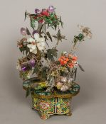 A Chinese specimen stone set model bonsai tree Mounted in a lobed cloisonne pot,