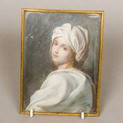 A 19th century miniature portrait Depicting a girl in a white gown and hat,