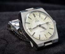 A stainless steel cased Omega automatic gentleman's wristwatch The silvered dial with batons and