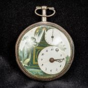 An unmarked silver cased double dial verge pocket watch The enamelled dial decorated with a female