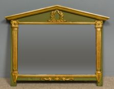 A 19th century French parcel gilt green painted over mantel mirror The arched top section centred