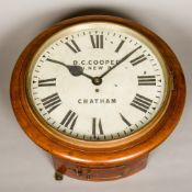 A Victorian mahogany cased fusee dial clock The white dial with Roman numerals inscribed D C Cooper,