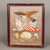 An early 20th century American embroidered silk picture Depicting an eagle above various flags,