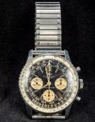 A Breitling Navitimer gentleman's wristwatch The black dial with three subsidiary dials and rolling